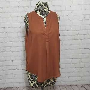 Brown Blouse Sleevless Blouse